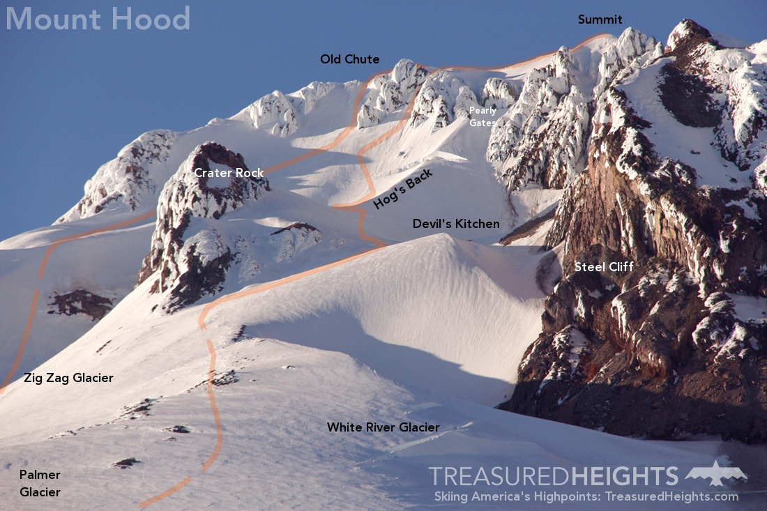 Diagram of Mount Hood Climbing Routes
