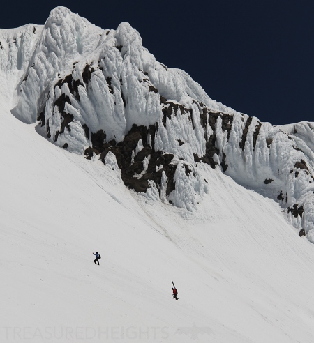 climbing Mount Hood with skis